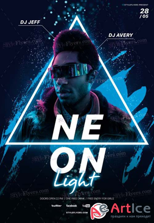 Neon Light V1 2019 PSD Flyer Template