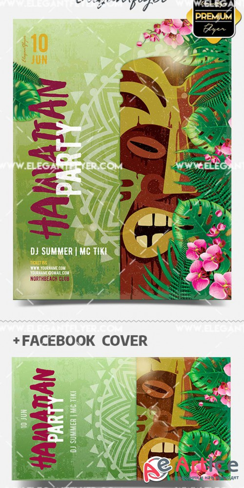 Hawaiian Party V1 2019 Flyer PSD Template + Facebook Cover + Instagram Post