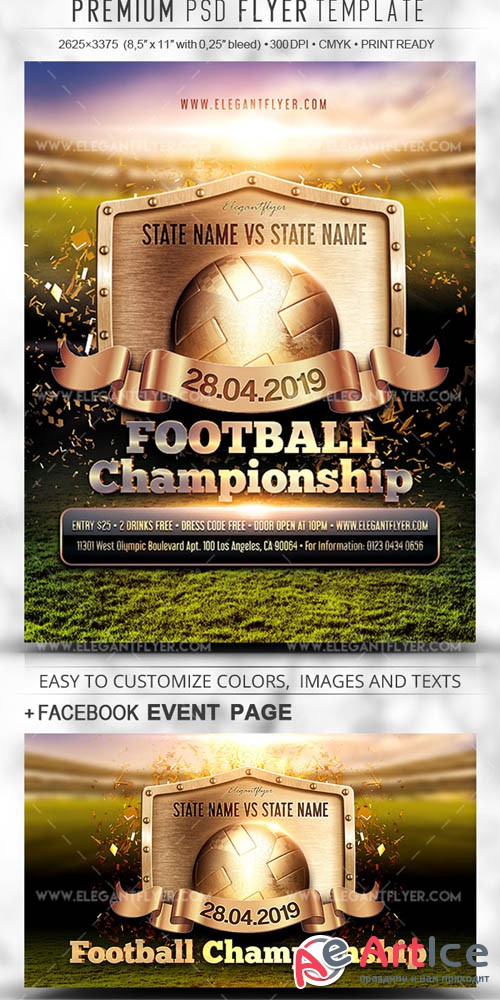 Football Championship V5 2019 Flyer PSD Template + Facebook Cover + Instagram Post