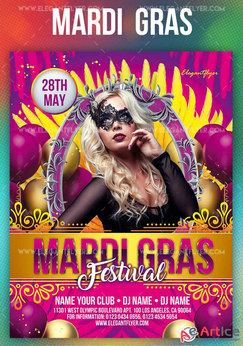 Mardi Gras Festival V5 2019 PSD Flyer Template + Facebook Cover + Instagram Post