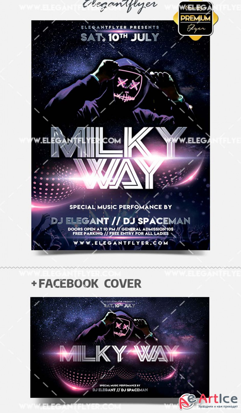 Milky Way Party V1 2019 PSD Flyer Template + Facebook Cover + Instagram Post