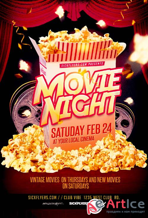 Movie Night psd flyer template