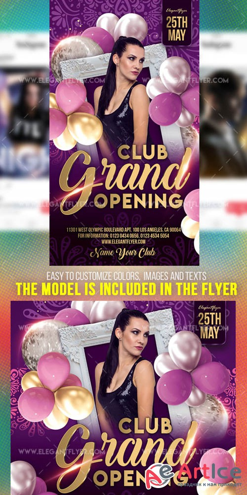 Club Grand Opening V7 2019 Instagram Stories Template in PSD + Post Templates