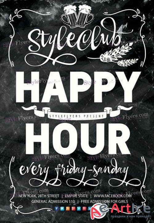 Happy Hour V6 2019 PSD Flyer Template