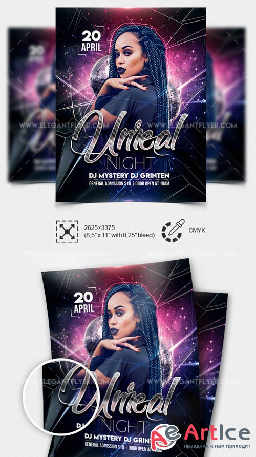 Unreal Night V1 2019 Flyer Template in PSD
