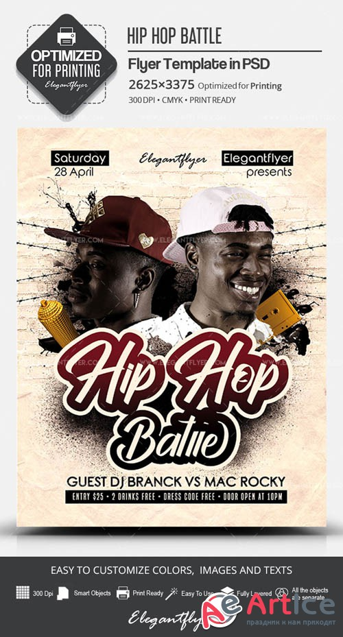 Hip Hop Battle V6 2019 PSD Flyer Template