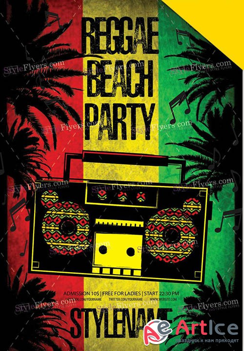 Reggae Beach Party V6 2019 PSD Flyer Template