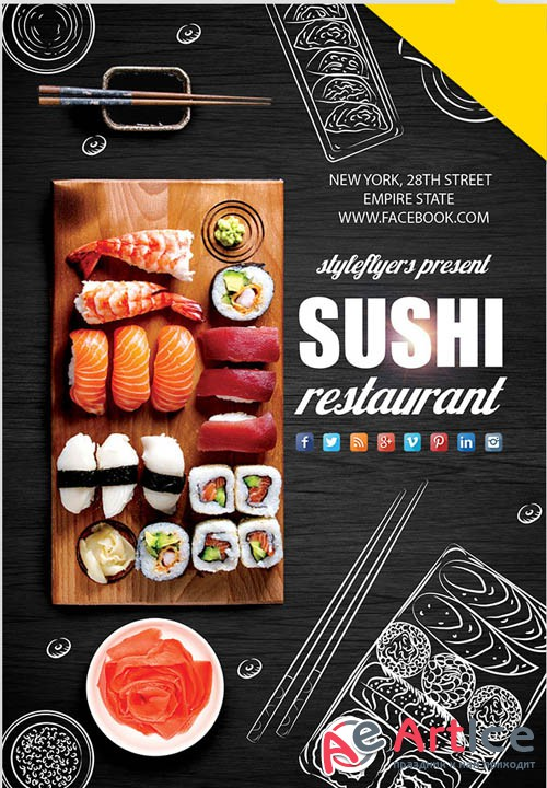 Sushi V1 2019 PSD Flyer Template