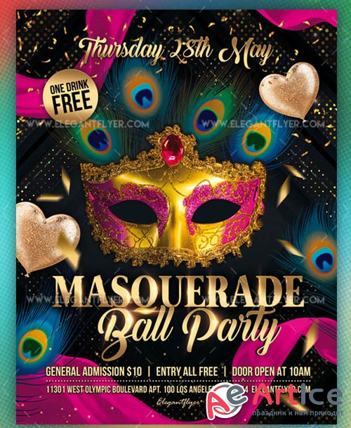 Masquerade Ball Party V1 2019 Premium Flyer Template in PSD
