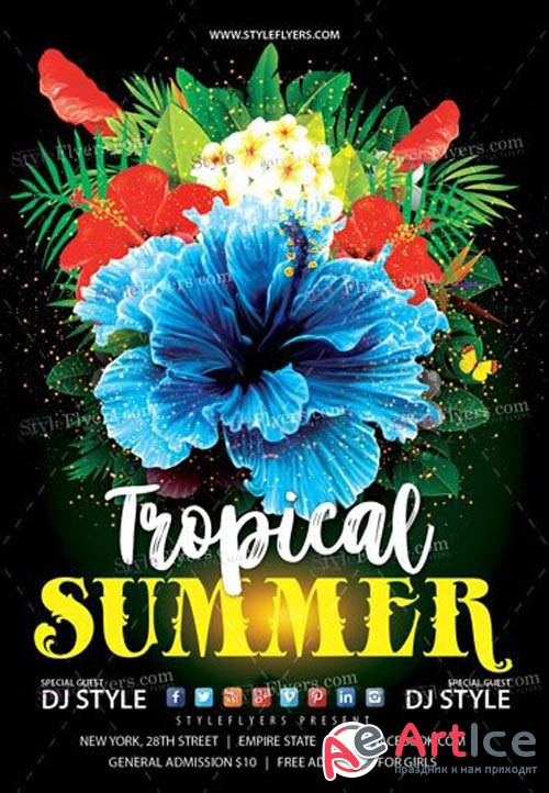 Tropical Summer V14 2019 Flyer PSD Template