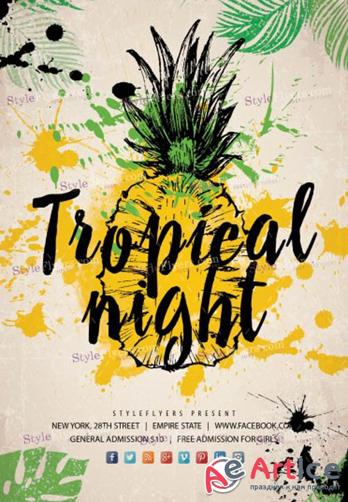 Tropical Night V3 2019 PSD Flyer Template