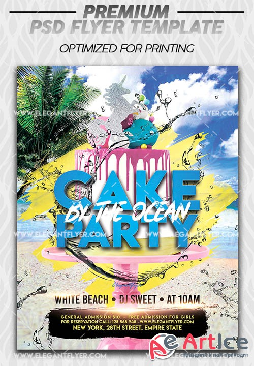 Cake by the Ocean Party V1 2019 Premium Flyer Template in PSD