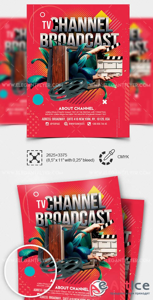 TV Channel Broadcast V1 2019 Premium Flyer Template in PSD