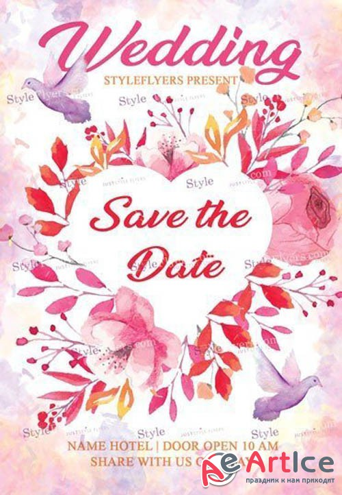 Wedding Save The Date V0108 2019 PSD Flyer Template