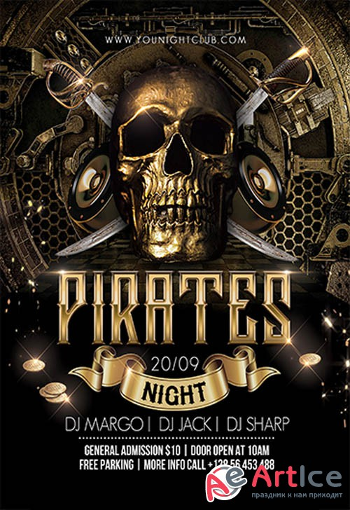 Pirates Night V2709 2019 Premium PSD Flyer Template