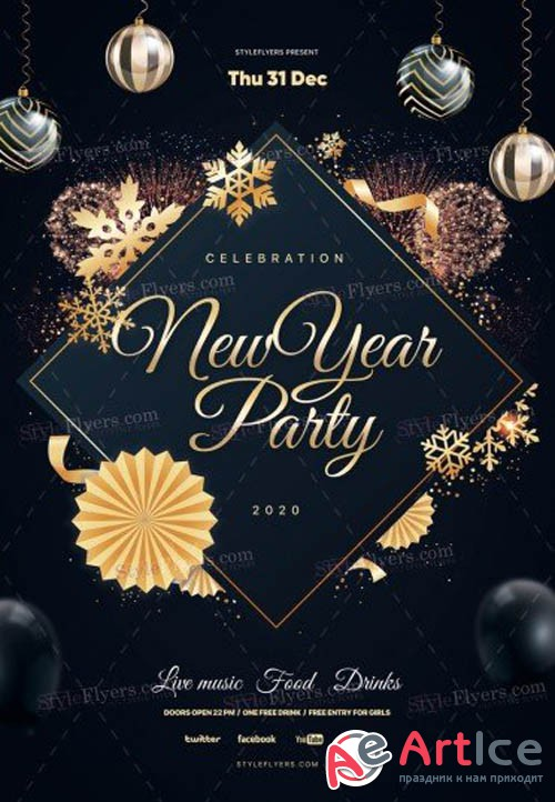 New Year Party V1612 2019 PSD Flyer Template