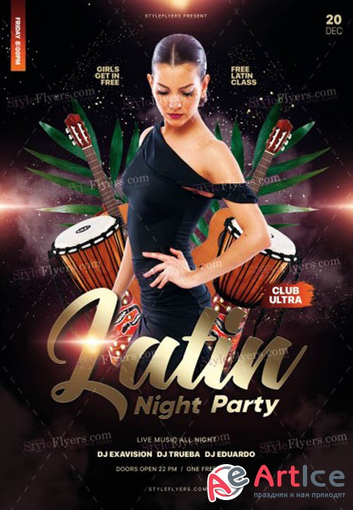 Latin Night Party V1612 2019 PSD Flyer Template