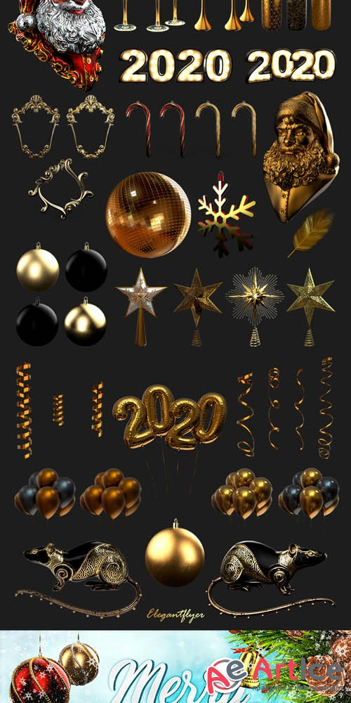 Gold and Black Christmas and New Year V2811 2019 Premium 3d Render Templates