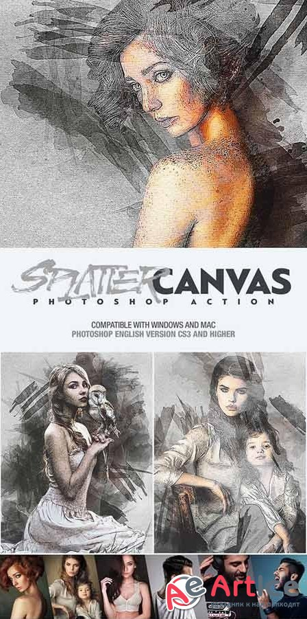 Splatter Canvas Photoshop Action - 25815169